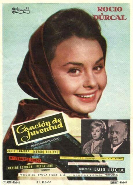 Cartel de la película de Rocío Durcal Canciones de Juventud.