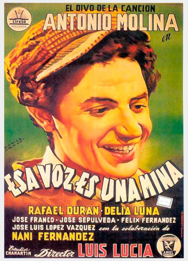 Cartel de la película 'Esta voz es una mina' de ANtonio Molina.