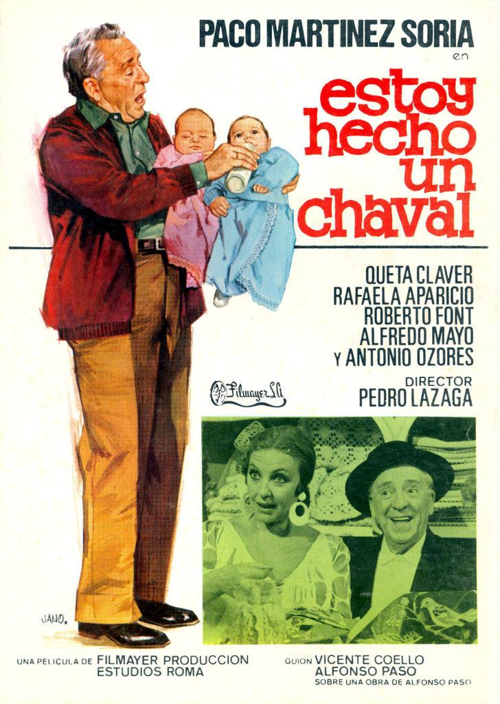 Cartel de la película de Cine de Barrio Estoy hecho un chaval de Paco Martínez Soria, quien aparece en la imagen dando el biberón a un pareja de bebés.