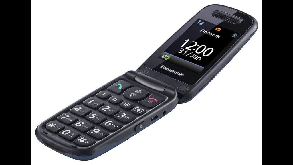 Teléfono desplegable negro de la marca Telefunken