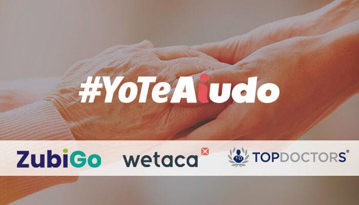 Creatividad promocional de la campaña #YoTeAiudo con dos manos que se cogen y los logos de los partners participantes.