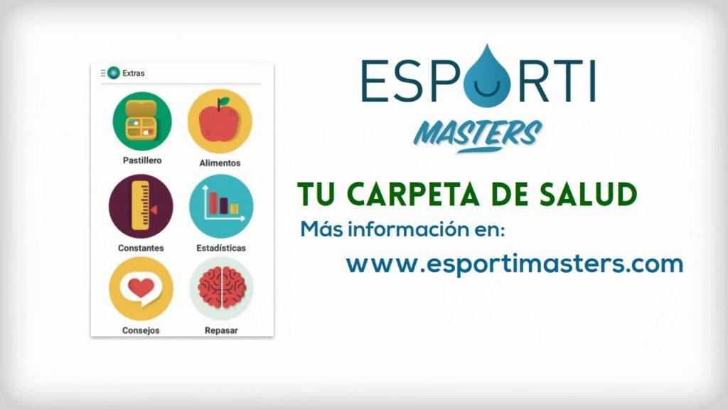 Portada de la app Esporti Masters con las funcionalidades que ofrece.