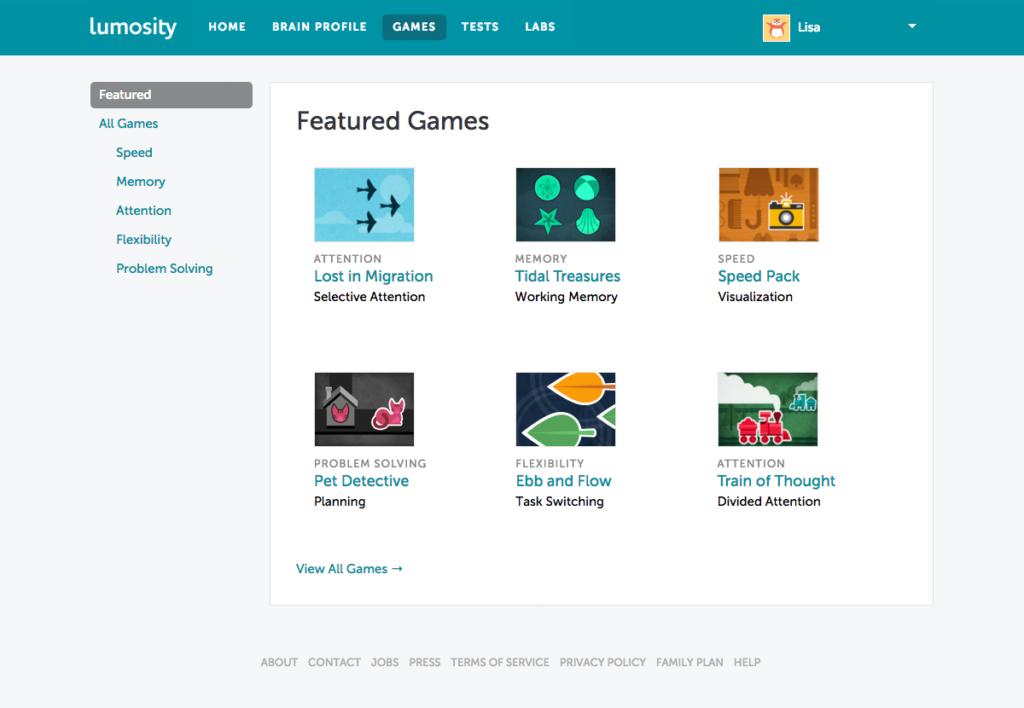 Caotura con algunos de los juegos para entrenamiento cognitivo que ofrece Lumosity.