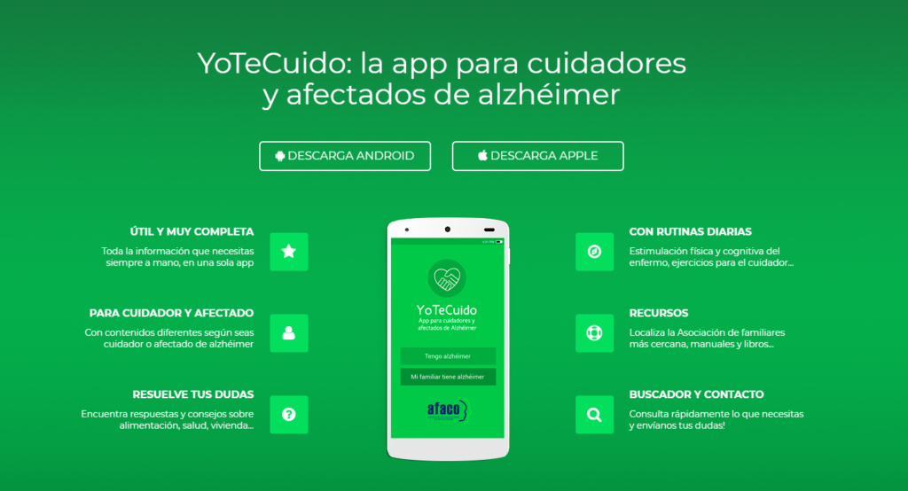 Portada de la web para la descarga de YoTeCuido Alzheimer.