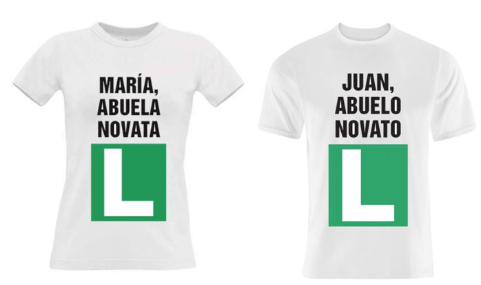 Imagen con dos camisetas con el estampado divertido con la L de ocnductor novel.