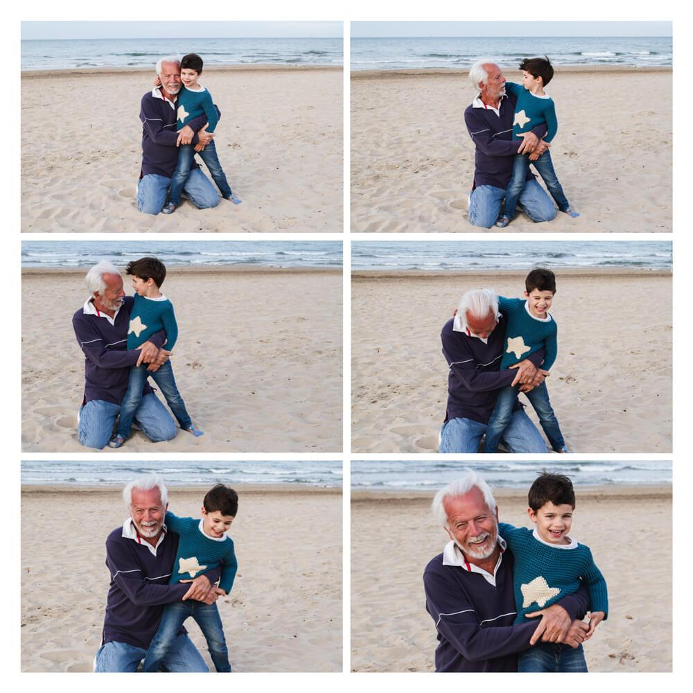 Imagen en rejilla de 6 fotos de una sesión fotográfica en la playa de un abuelo con su nieto.