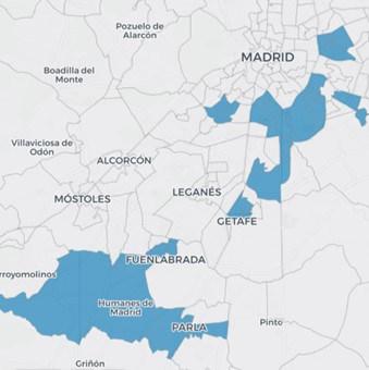 Mapa de las zonas confinadas en Mdrid por la pandemia.