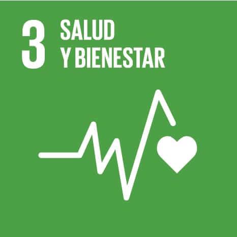 Logo del Objetivo de Desarrollo Sostenible número 3: Salud y bienestar