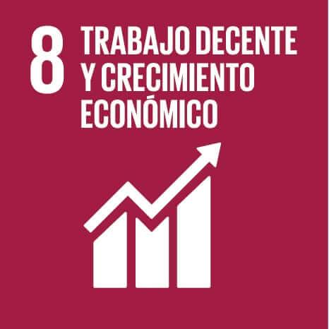 Logo del Objetivo de Desarrollo Sostenible número 8: Trabajo decente y crecimiento económico