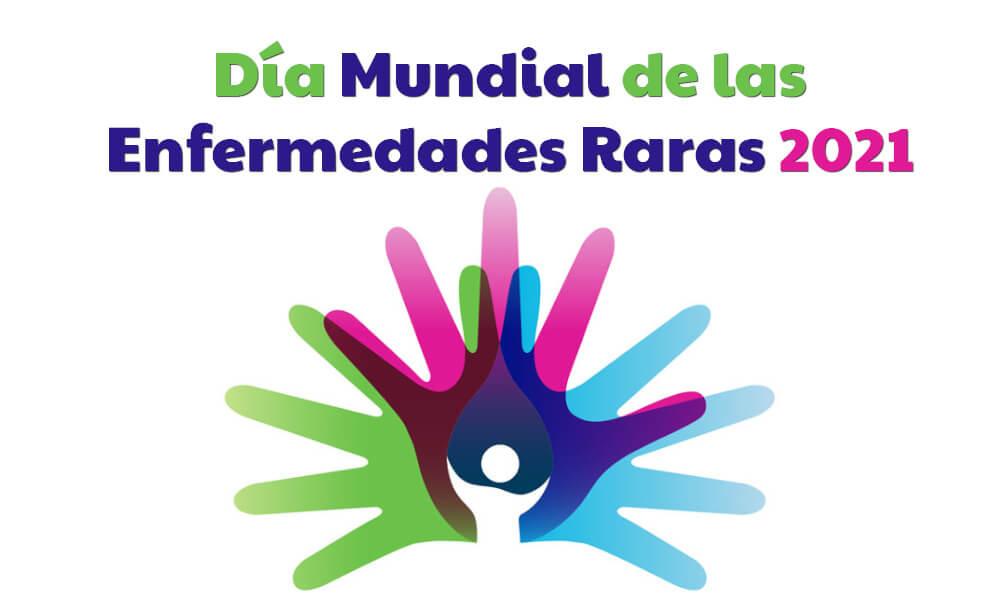 Logo formado por manos de colores del Día Mundial de las Enfermedades Raras 2021