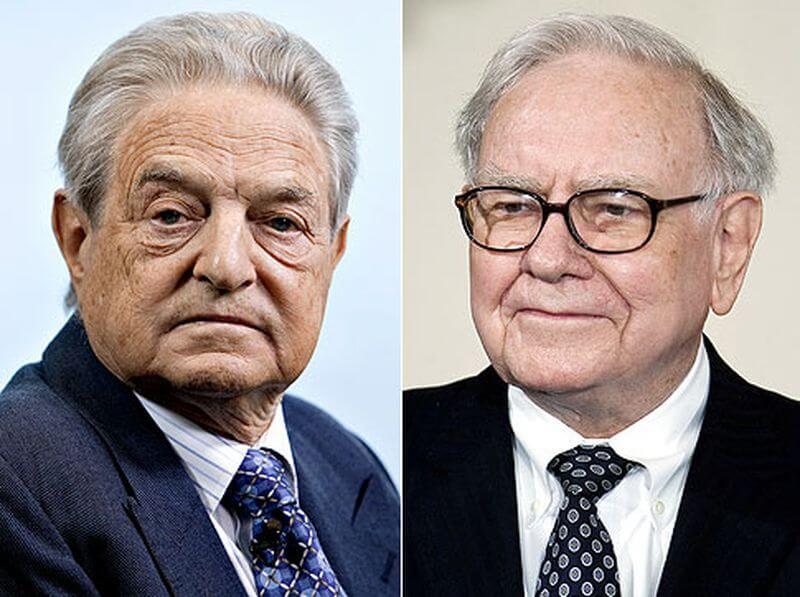 Imagenes del rostro de George Soros y Warren Buffett